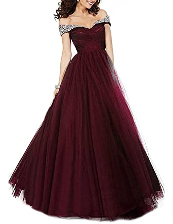 2f8a1781c48 Homdor Beaded Off Shoulder Prom Evening Dress for Women A-Line Tulle Formal  Gown at Amazon Women s Clothing store