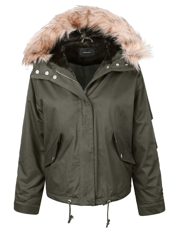 [Yjh0049]olive makeitmint Women's Detachable Faux Fur Hood Lining Utility Parka Anorak Jacket