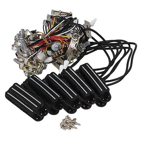 BQLZR Bobina de guitarra eléctrica Circuito arnés de cableado doble pastilla con 3-Way interruptor