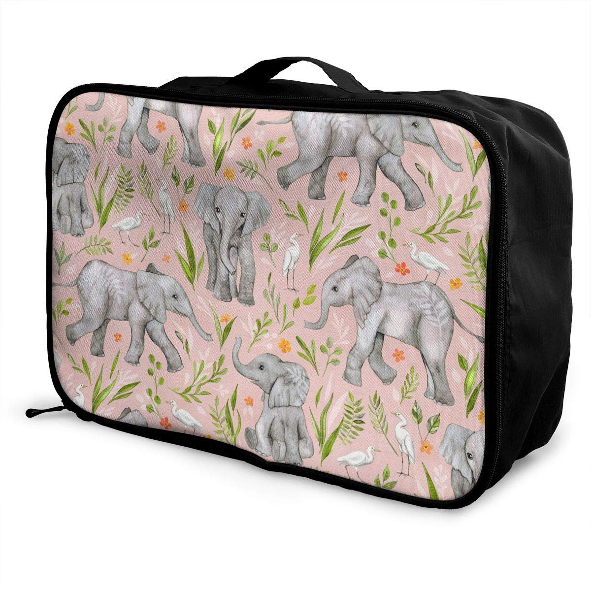 ADGAI Baby Elephants and Egrets Canvas Travel Weekender Bag,Fashion Custom Lightweight Large Capacity Portable Luggage Bag,Suitcase Trolley Bag
