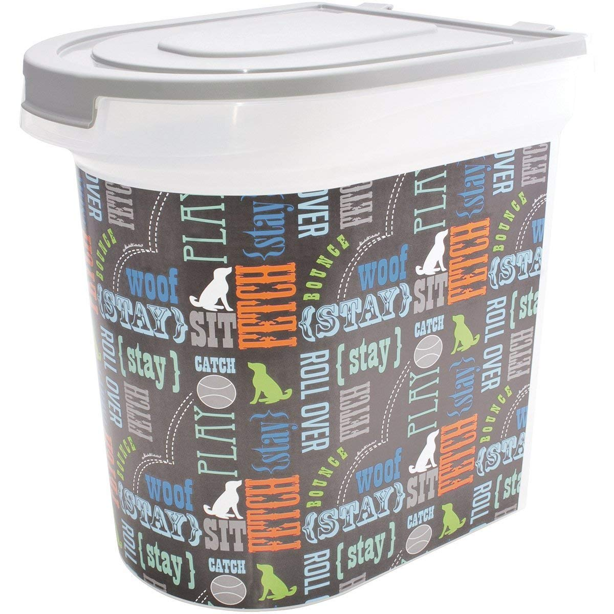 OKSLO 26 pound pet food storage container, word design, includes 1 cup measured scoop,
