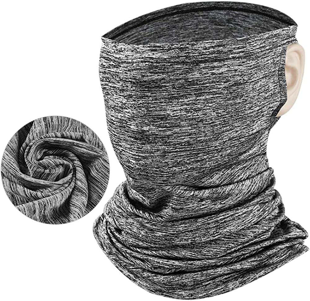 ace Scarf Mask, Face Cover Mask Mouth Neck Gaiter Bandanas with Ear Loops for Dust, Outdoors, Festivals, Sports Grey