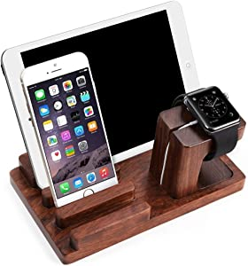 Feitenn iPad iPhone Wooden Stand, Apple Watch Bamboo Wood Charging Stand Desktop Station USB 2.0 Hub Bracket for iPhone 7 Samsung S8 LG G6 iWatch iPad Kindle (Dark Brown)