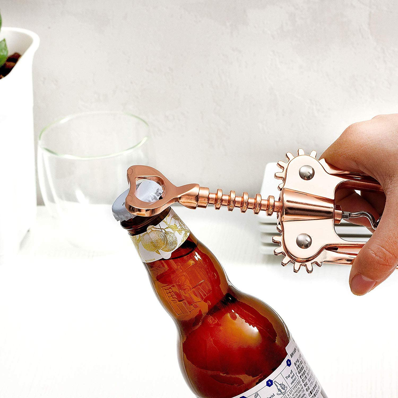Nrpfell Rose Gold Wing Corkscrew Wine Opener Wine Bottle Opener Zinc Alloy Beer Bottle Openers Restaurant Kitchen