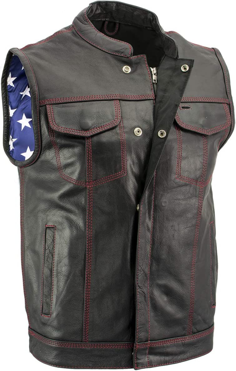 Xelement XS6665 Old Glory Mens Leather Vest with Red Stitching and USA Inside Flag Liner 12X-Large