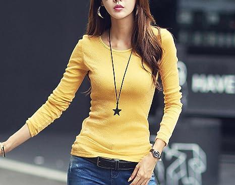 62ff70f1e65 Women Fashion Shirts 2018 New Autumn Solid Women T-Shirts Long Sleeve O-Neck