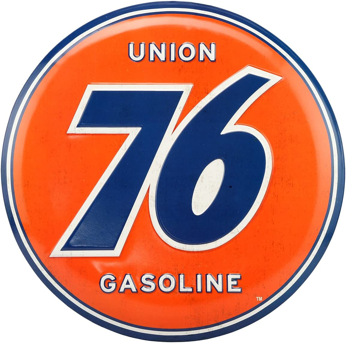 Open Road Brands Union 76 Embossed Blue and Orange Metal Button Wall Art Sign - an Officially Licensed Product Great Addition to Add What You Love to Your Home/Garage Décor