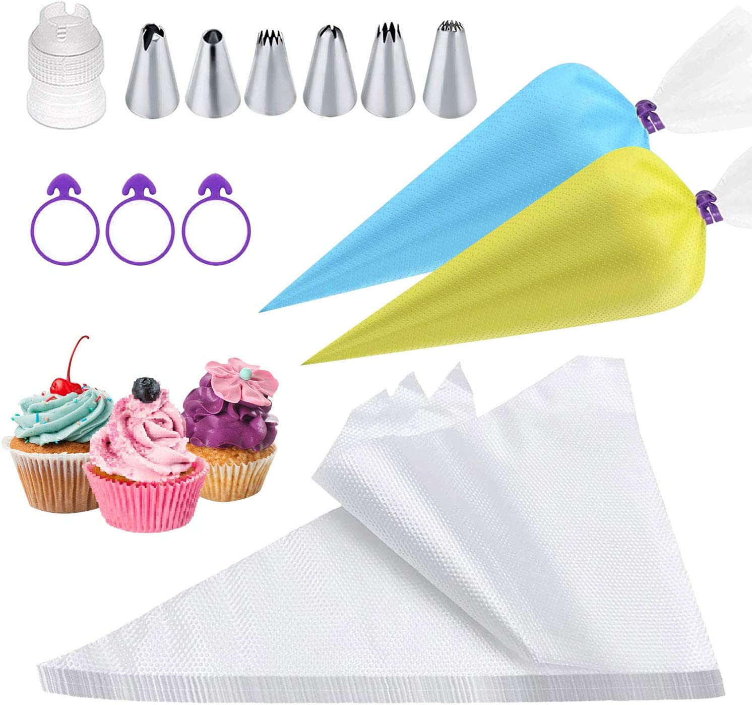 100 pcs/set Disposable Piping Bags with 6 Cupcake Icing Tips, 12 Inch Thickened Pastry Bag for Cream Frosting, Cupcake Cake Decorating Supplies Bonus 3 Bag Ties & 1 Icing Tips Coupler
