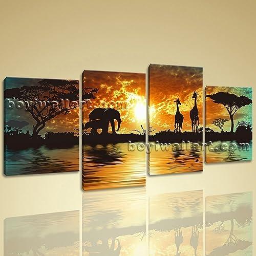 Amazon.com: Huge Canvas Print HD Africa Landscape Tree Elephant ...