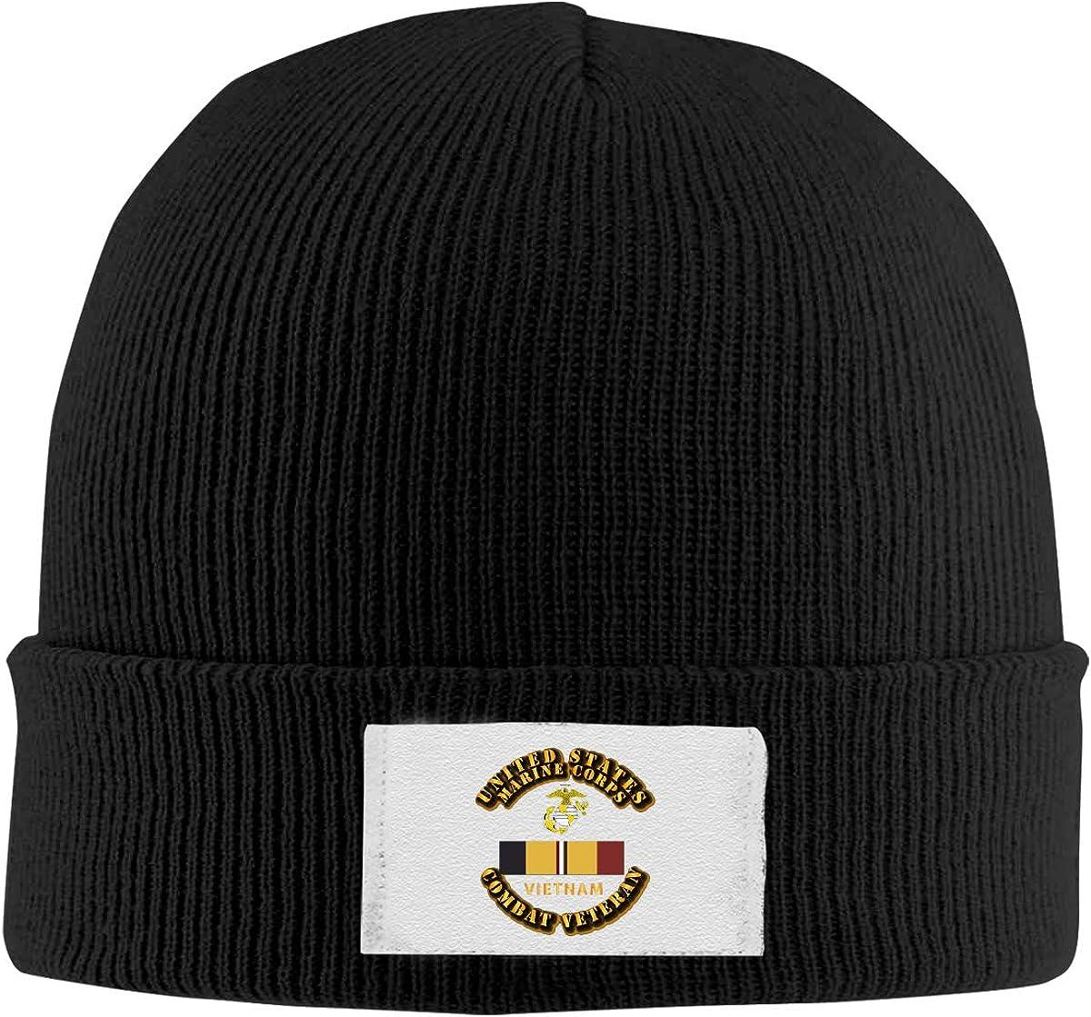 Unisex Stylish Slouch Beanie Hats Black USMC Combat Veteran Logo Top Level Beanie Men Women