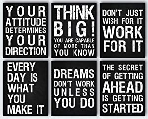 Inspirational Wall Art Décor Posters For Office, Gym, Living Room, Bedroom, Or Home | Motivational & Positive Quotes & Sayings | Six 8 x 10 (Not Framed) Prints Perfect Decorations For Any Room | Set 1