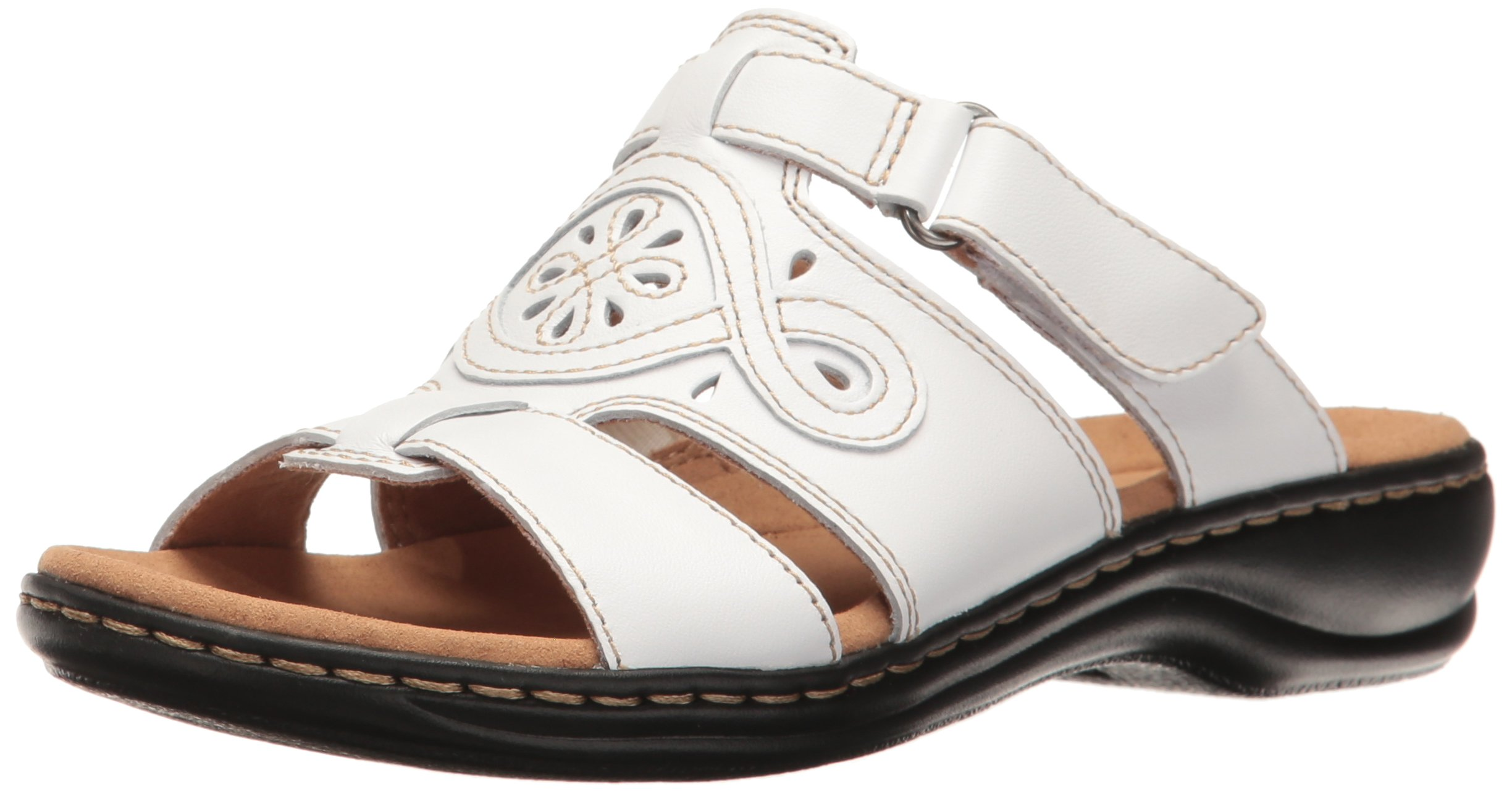 Clarks Women's Leisa Higley Slide Sandal, White Leather, 8.5 M US product  image