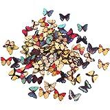 Lot de 100pcs Bouton en Bois Forme de Papillon Coloré pour Couture Bricolage Artisanat
