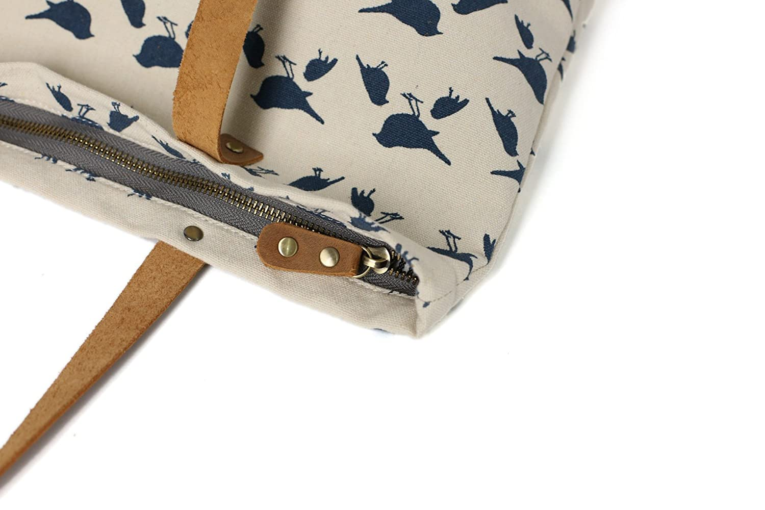 Fantasylinen Waxed Canvas Tote with Leather School Bag Daily Bag Carry All Bag