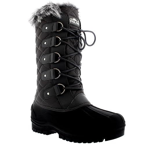 47721eaf64846 Polarr Femmes Tall Matelassé Fourrure Doublée Neige Tactique Imperméable  Hauteur du Genou en Marchant Bottes  Amazon.fr  Chaussures et Sacs