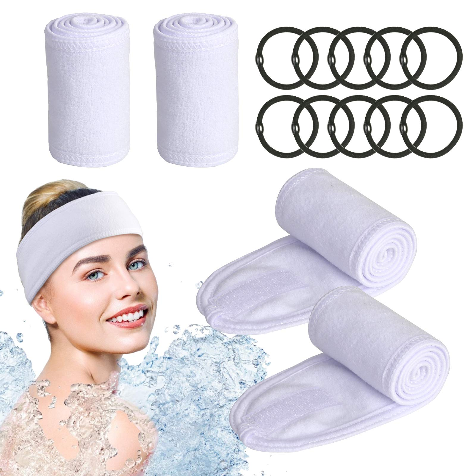 KATOOM Spa Headband 4pcs Makeup Headbands Facial Cosmetic Headband Terry Cloth Head Band with 10pcs Rubber Band for Shower Washing Face Yoga Sport Make Up (White)