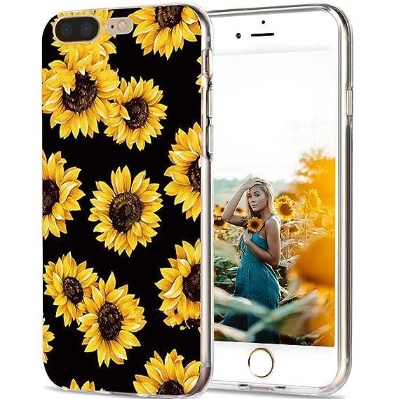 quality design 3990e 62ea7 GreenElec Phone Case Compatible Apple iPhone 8 Plus / iPhone 7 Plus,  Sunflowers Floral Pattern Clear Flexible TPU Bumper Design, Shockproof  Protective ...