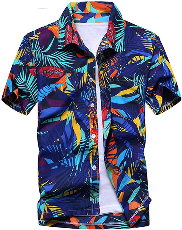 Mens Hipster Summer Short Sleeve Beach Hawaiian Shirt Cotton Casual Floral Shirts Slim Fit
