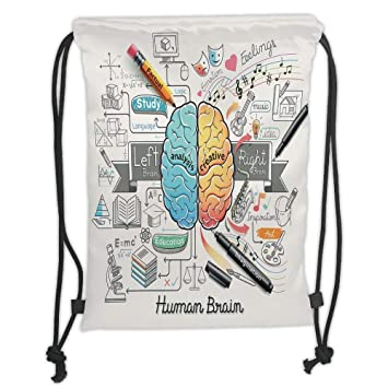 ddd0c3f1647e Drawstring Backpacks Bags,Doodle,Two Sides of Human Brian Analitical ...