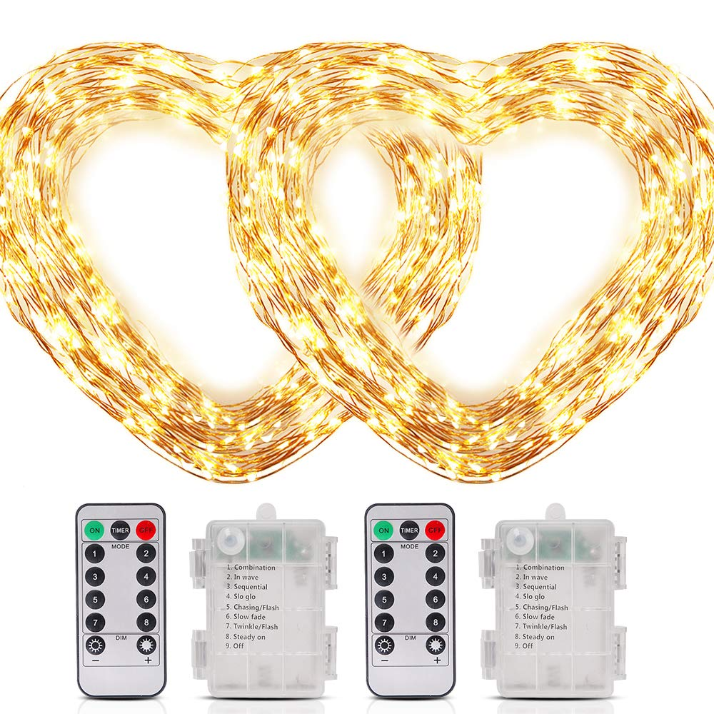 LetsFunny LED String Lights 40 ft 120 LEDs 8 Modes with Remote Control Waterproof Christmas Light Wedding Party Home Garden Bedroom Outdoor Indoor Wall Decorations Battery Powerd Warm White (2 Pack)