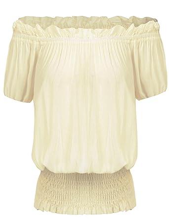 61b402ab58b22 Zeagoo Ladies Chiffon Off The Shoulder 3 4 Sleeve Blouse Cotton Puff Top  Beige S