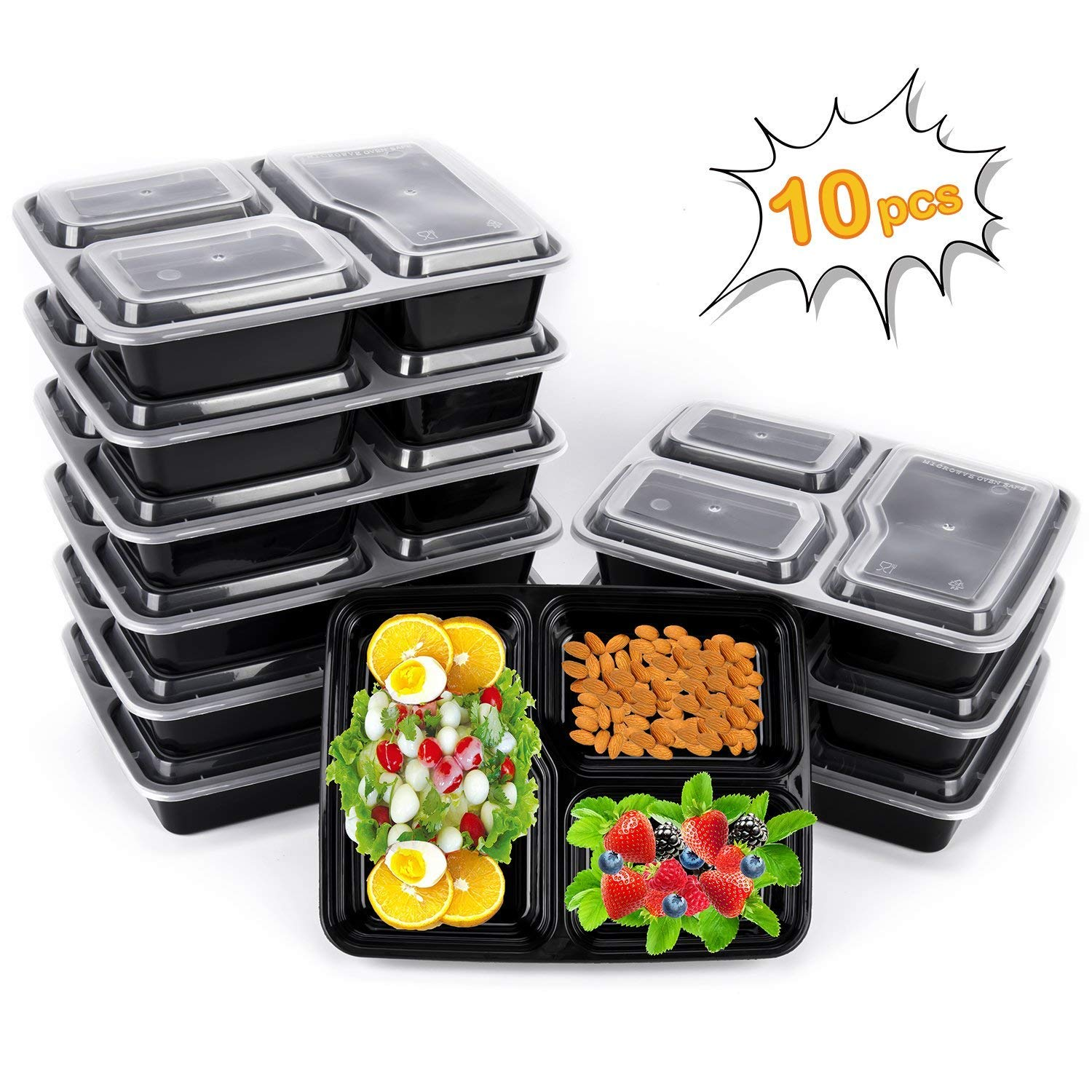 Meal Prep Containers, 10 Pack Premium Quality Meal Prep Plastic Microwavable Food Containers for adults (BPA free Food Grade/Freezer/Dishwasher Safe) (advanced) (Upgraded) DAPRIL