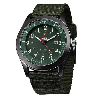 Zeiger Montre Homme Militaire Bracelet en Nylon Vert Foncé - Montre en Tissu Noir Aiguilles Fluorescentes