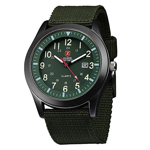 8a893becded9 Relojes de pulsera Zeiger Reloj Hombre cuarzo Reloj Hombre Militar Reloj  hombre deportes Date Fluorescence Canvas Nylon Verde W283FR-FBA  Amazon.es   Relojes