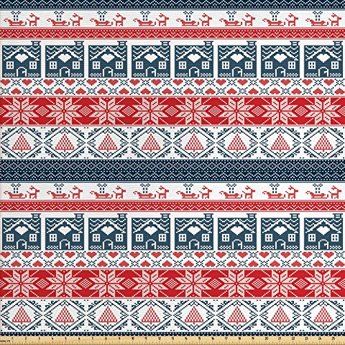 nitureAndDecor, Scandinavian Inspirations Winter Stitch Gingerbread House and Tree Sleigh, Decorative Fabric for Upholstery and Home Accents, Dark Blue Red White ()