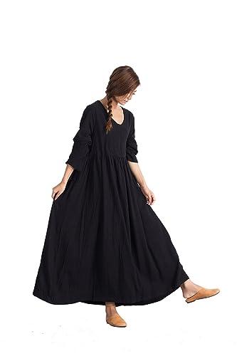 b17317d92d2 Amazon.com  Custom Women s Linen Cotton Soft Maxi Dress Large Long ...