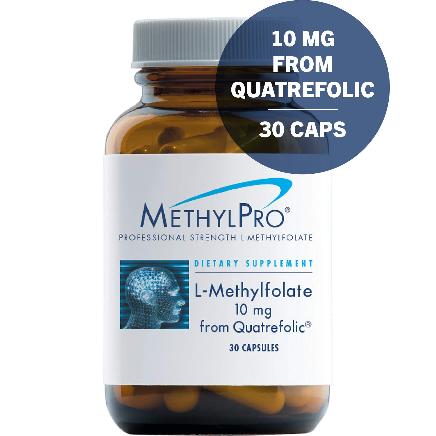 MethylPro 10mg Quatrefolic L-Methylfolate 30 Capsules - No Fillers, Professional Strength 10000mcg Active Folate from Glucosamine Salt, Non-GMO + Gluten-Free Fast-Acting 5-MTHF by MethylPro