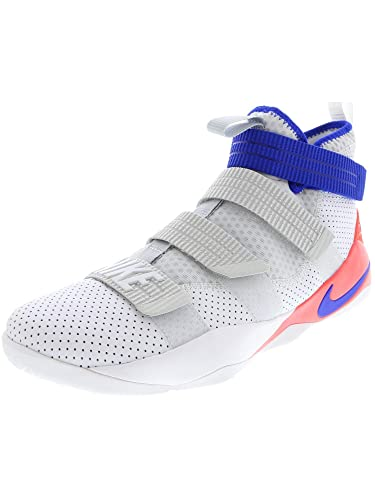 brand new 3b580 9377a Amazon.com   Nike Men s Lebron Soldier Lx SFG White Racer Blue - Infer Red  High-Top Leather Basketball Shoe 12.5M   Basketball