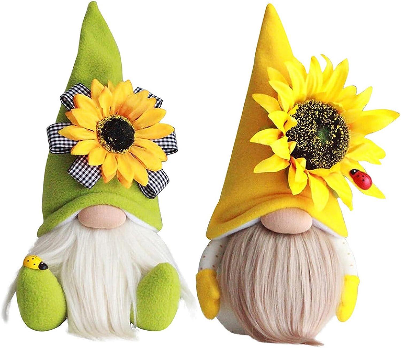 2 Pcs Sunflower Summer Gnome Plush Elf, Honey Bee Spring Decorations for Home Farmhouse Kitchen, Creative Decor Ornaments, Scandinavian Tomte Nisse Dwarf Figurines