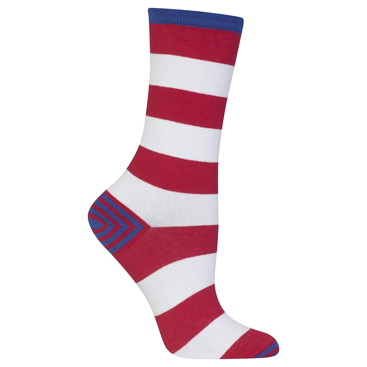 Hot Sox Women's Rugby with Striped Heel and Toe Sock