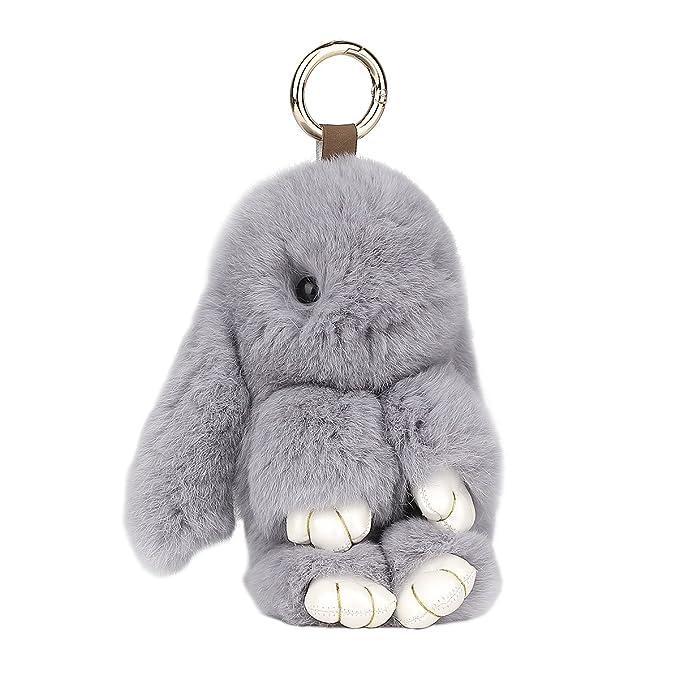 Amazon.com: PONOBO Llavero de conejo suave Rex con llavero ...