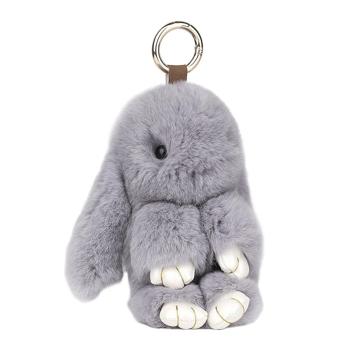 PONOBO Bunny Keychain Soft Rex Rabbit Fur Keychain Car Keyring Women Handbag Charms