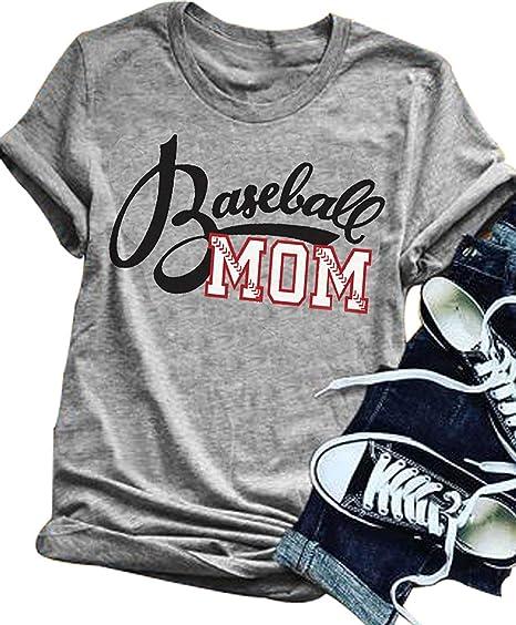 74be6359b LONBANSTR Women Baseball Mom Letter Print T Shirt Short Sleeve Tops Tee ( Small)