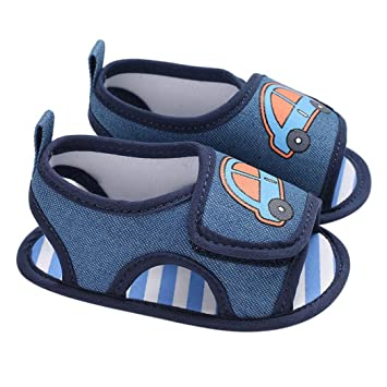 Amazon.com   Lanhui Infant Baby Sandals Boy Crib Shoes Car Soft Sole Canvas  Walkers Toddler (Blue