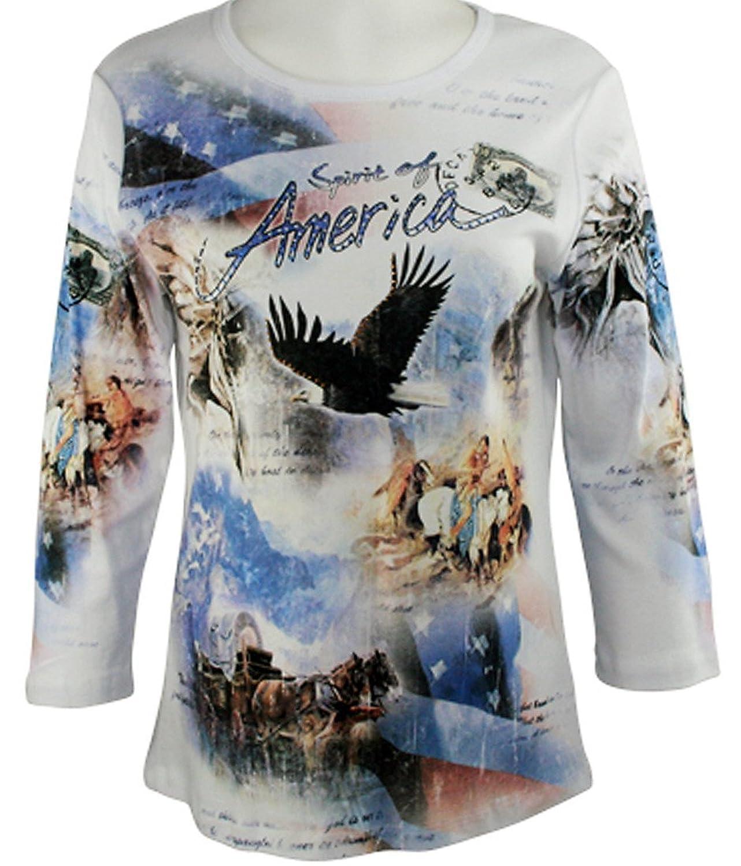 Cactus Fashion - Spirit of America, 3/4 Sleeve, Printed Cotton Rhinestone Top