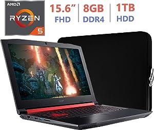 Acer Nitro 5 Gaming AN515 15.6-inch FHD(1920x1080) Laptop PC, Quad-Core AMD Ryzen 5 2500U 2.0GHz, Radeon RX 560X GDDR5, 8GB RAM, 1TB HDD, Backlit Keyboard, USB Type-C, Windows 10 Home w/Sleeve