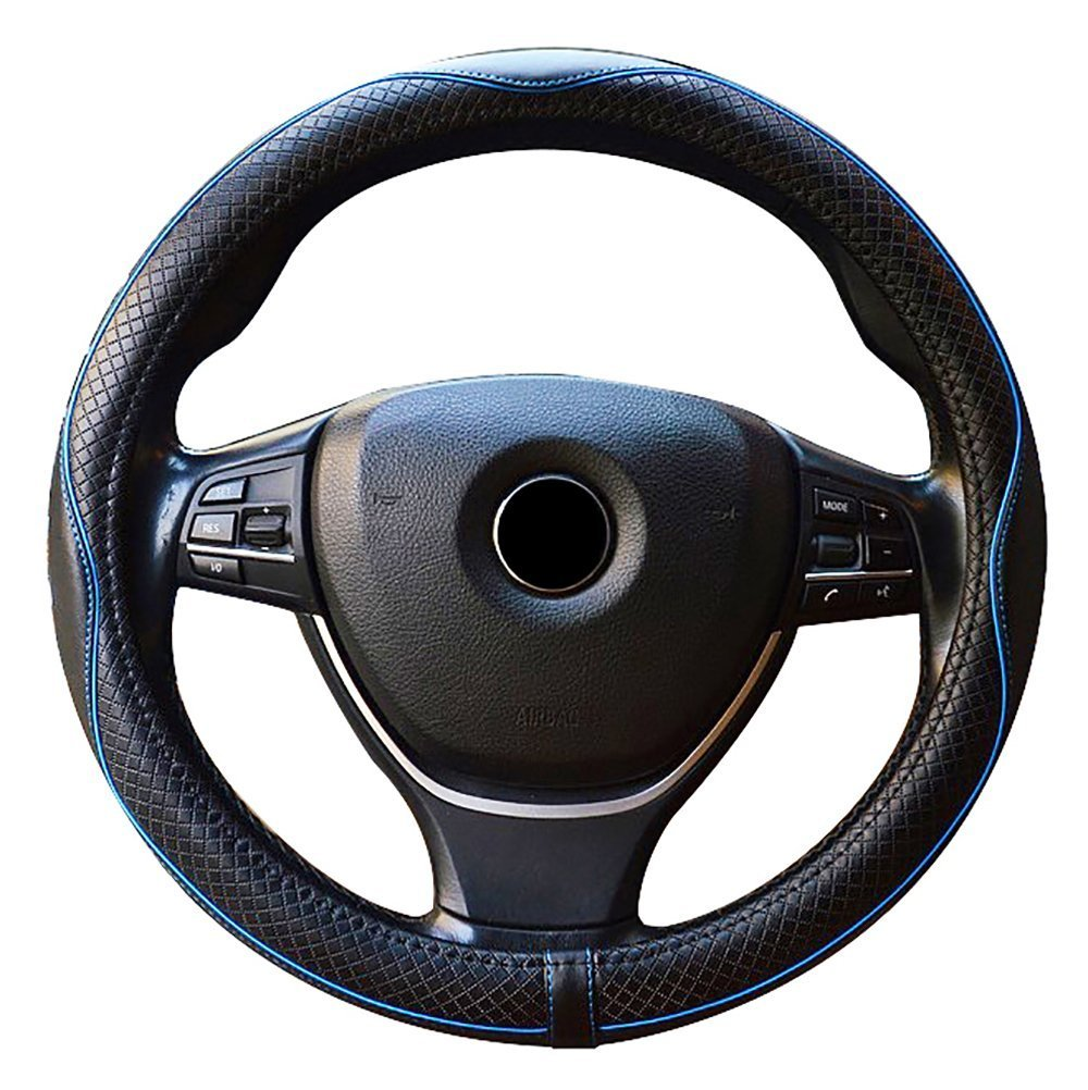 FREESOO Car Steering Wheel Covers Leather Universal 38cm Automotive Interior Accessories Year Round Use for Van Truck SUV 15 inch