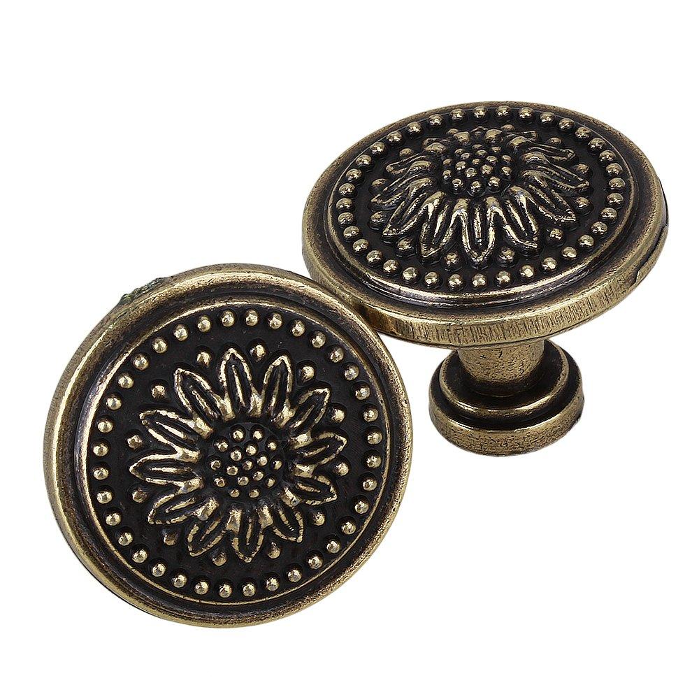 Yibuy 5pcs Vintage Style Dresser Knob Pulls Drawer Knob Cabinet Door Handle Black 27mm etfshop
