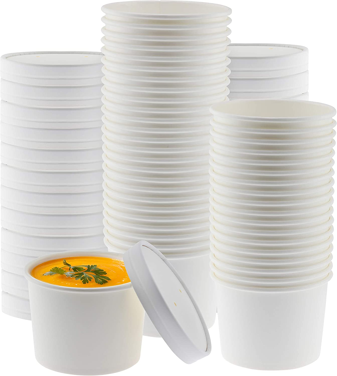 NYHI Paper Soup Storage Containers With Lids | 8 Ounce Insulated Take Out Disposable Food Storage Container Cups For Hot & Cold Foods | Eco Friendly To Go Soup Bowls With Vented Lid | 50 Pack