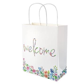 Amazon.com: Crisky Kraft Paper Gift Bags Elegant Welcome Wedding ...
