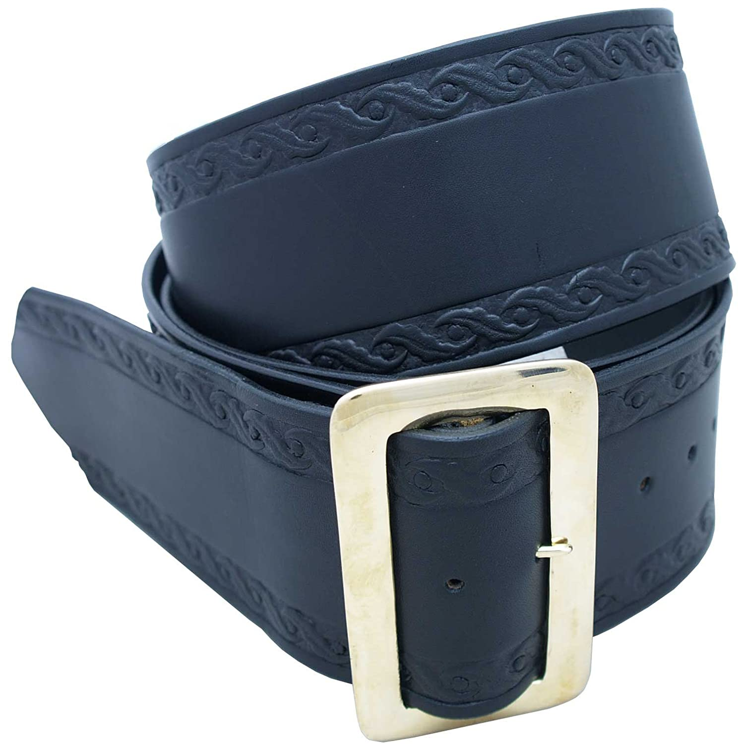 Adult Santa Embossed Holly Leaf Design Black Leather Belt - DeluxeAdultCostumes.com