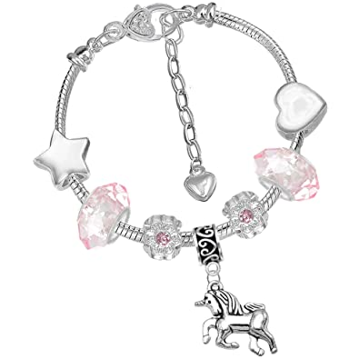 Unicorn Sparkly Crystal Charm Bracelet Necklace Set with Greeting Card Gift Box for Girl Lady Christmas Birthday