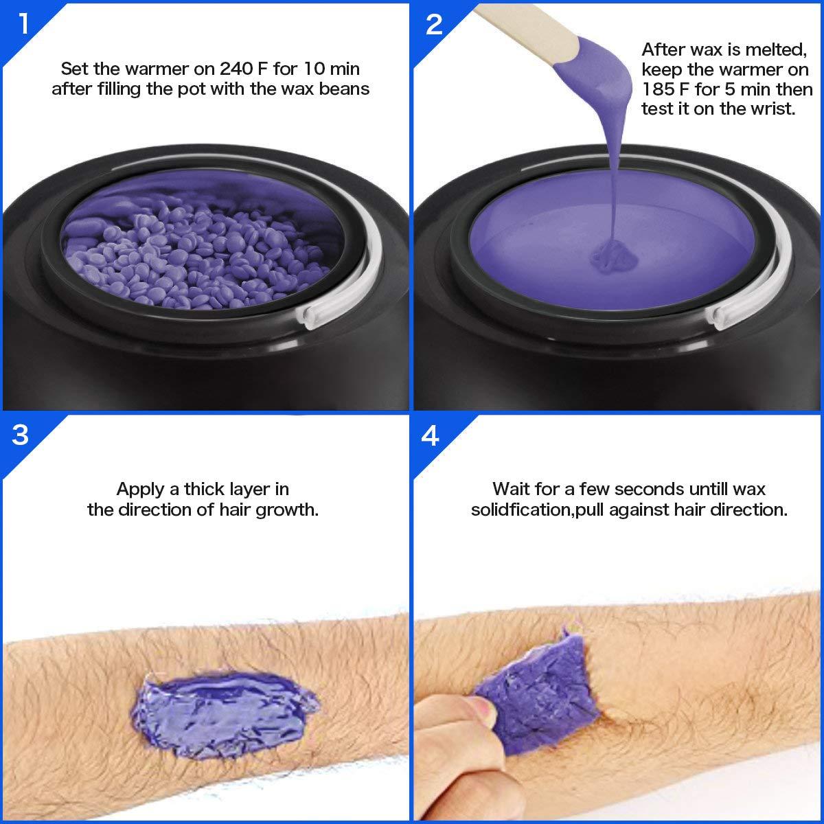 Wax Warmer Profession Electric Wax Heater Pot Waxing Kit Set Hair Removal for All Wax 6 Different Flavors Hard Wax Beans+20 Applicator Sticks LCD Digital Display Black