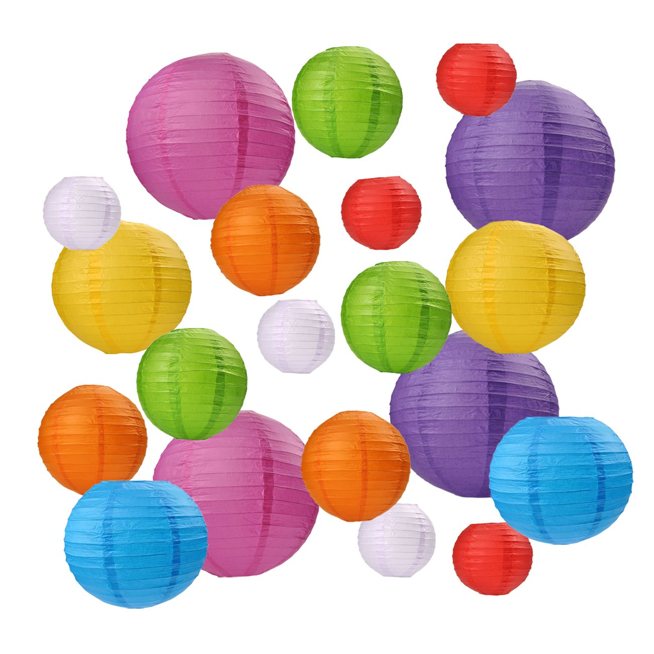 Besource 20 Pcs Colorful Paper Lanterns with Assorted Colors and Sizes for Home Decor,Birthday,Weddings Christmas Parties