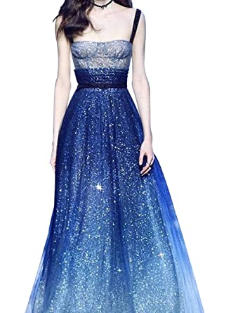 Kings Bridal Womens Gradient Sequin Evening Prom Dresses Strap Space Star Evening Dress Tulle Long A