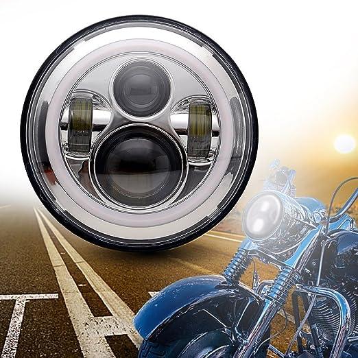 """4 opinioni per UNI Cromo 7"""" Round Daymaker Fari proiettore LED angolo Occhi con ambra segnale"""